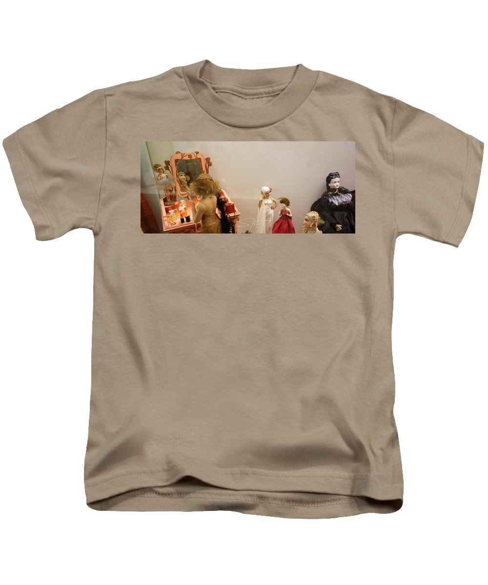 Make-up Kids T-Shirt featuring the photograph Making Up by Charles Stuart