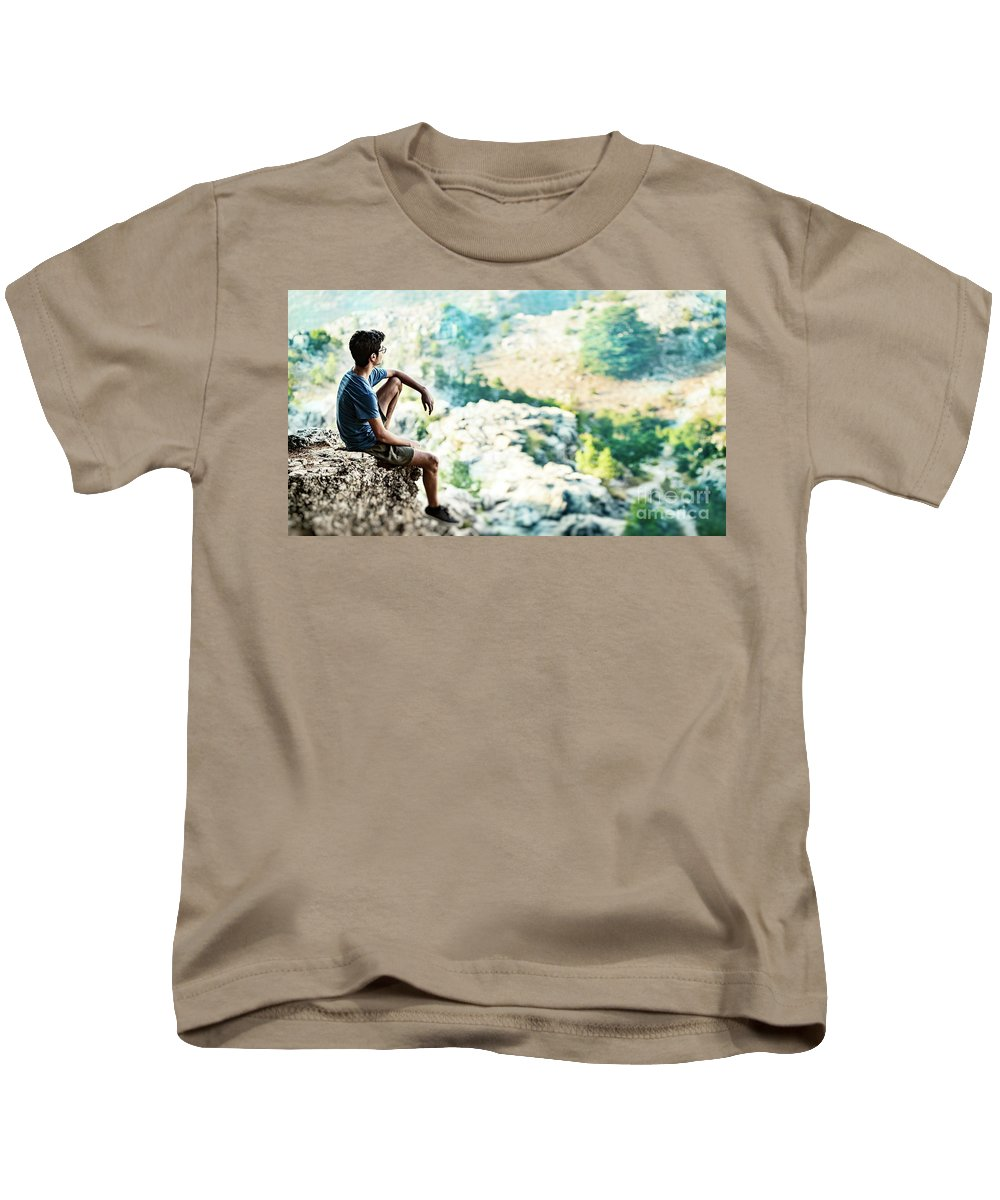 Active Kids T-Shirt featuring the photograph Man On Top Of The World by Anna Om