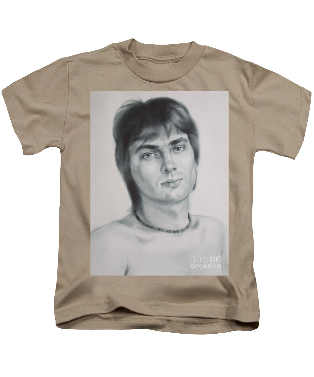 Art Kids T-Shirt featuring the drawing Man by Sergey Ignatenko