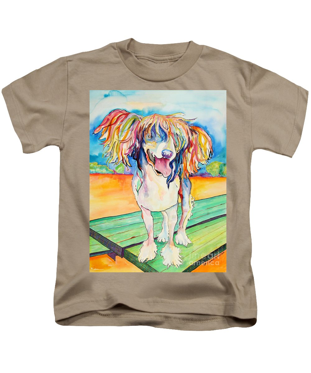 Chinese Crested Kids T-Shirt featuring the painting Mango Salsa by Pat Saunders-White