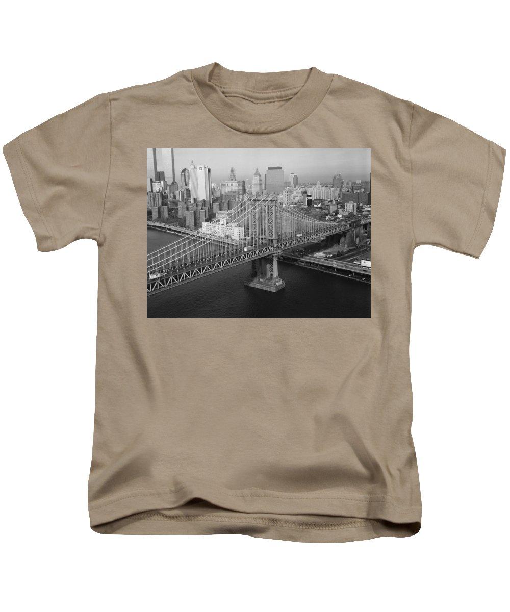 Manhattan Bridge Kids T-Shirt featuring the photograph Manhattan Bridge Black And White Photograph by CartographyAssociates