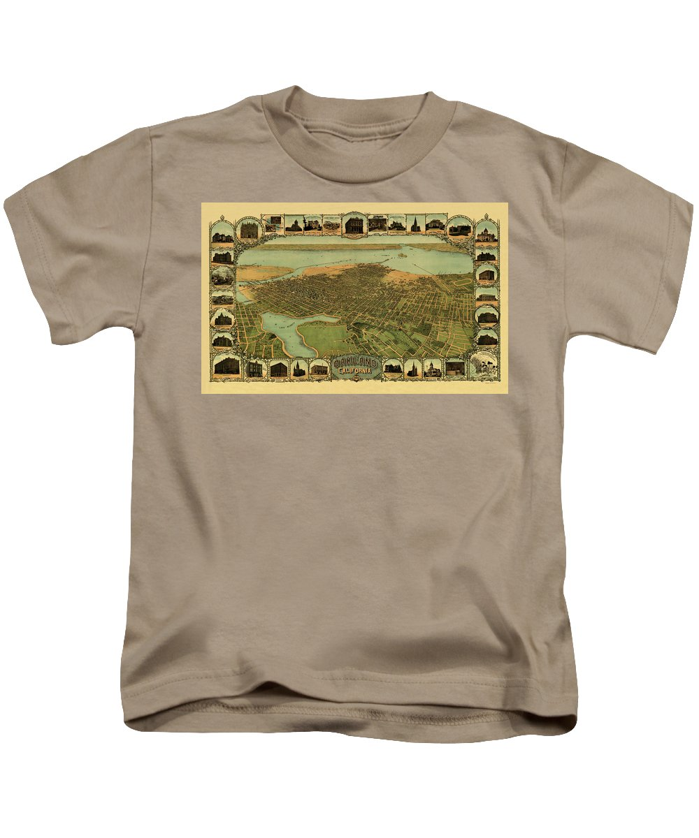 Map Of Oakland Kids T-Shirt featuring the photograph Map Of Oakland 1900 by Andrew Fare