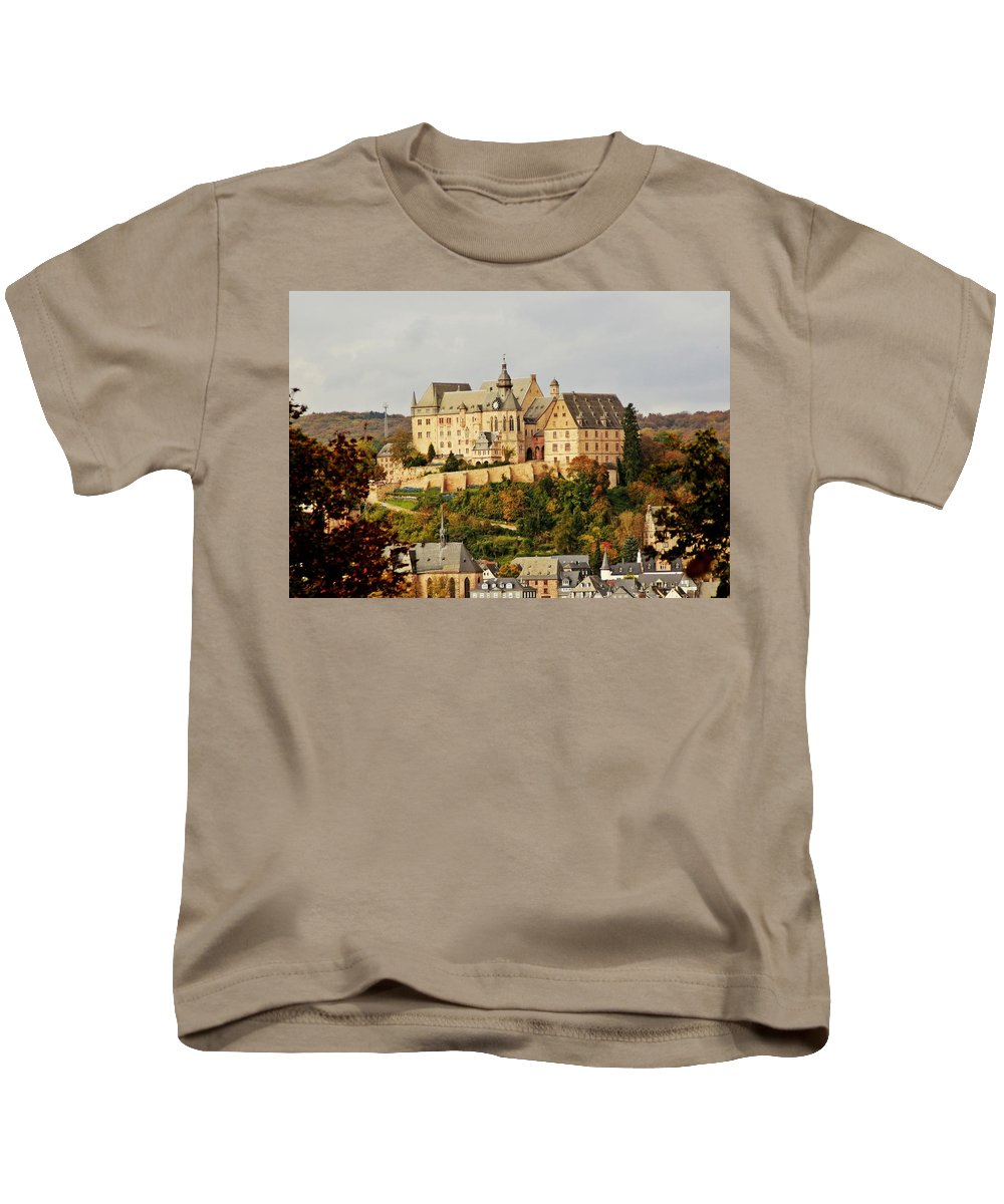 Announcement Kids T-Shirt featuring the photograph Marburg Castle Germany H B by Gert J Rheeders