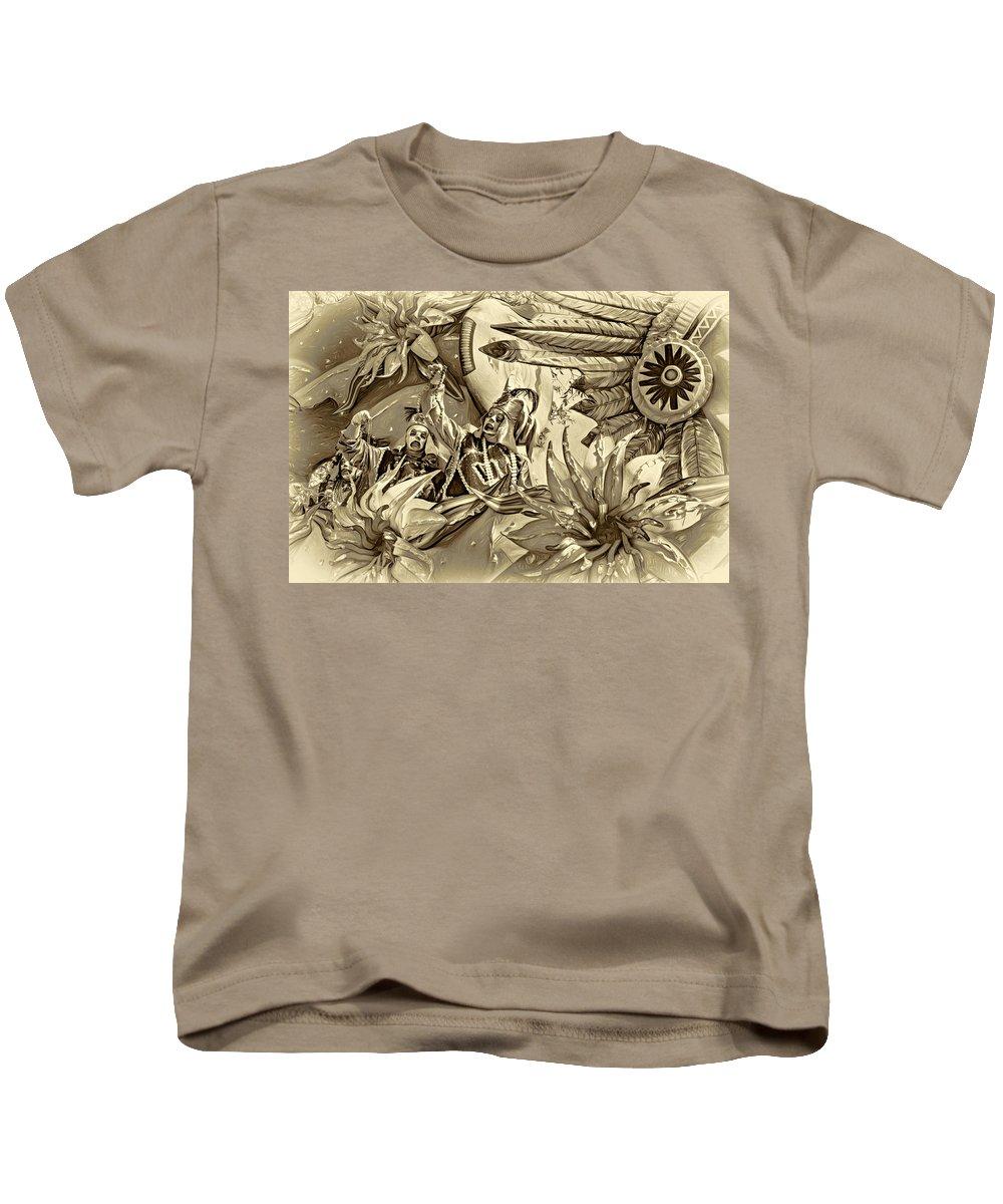 Nola Kids T-Shirt featuring the photograph Mardi Gras - New Orleans 3 - Sepia by Steve Harrington
