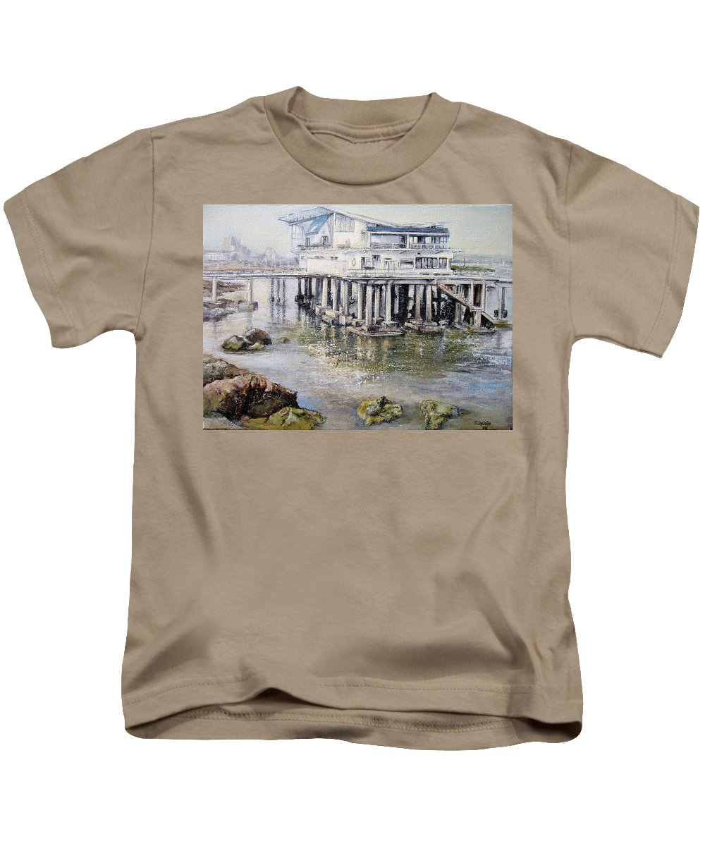 Maritim Kids T-Shirt featuring the painting Maritim Club Castro Urdiales by Tomas Castano