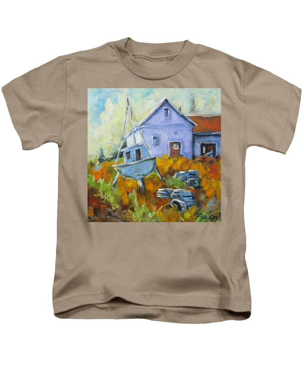 Water Kids T-Shirt featuring the painting Maritime Scene by Richard T Pranke