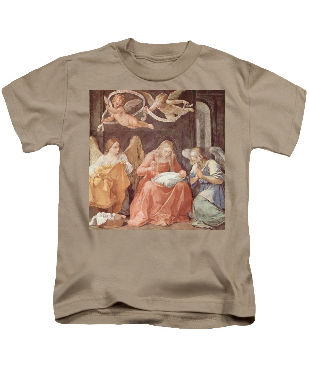 Mary Kids T-Shirt featuring the painting Mary And Angels 1611 by Reni Guido