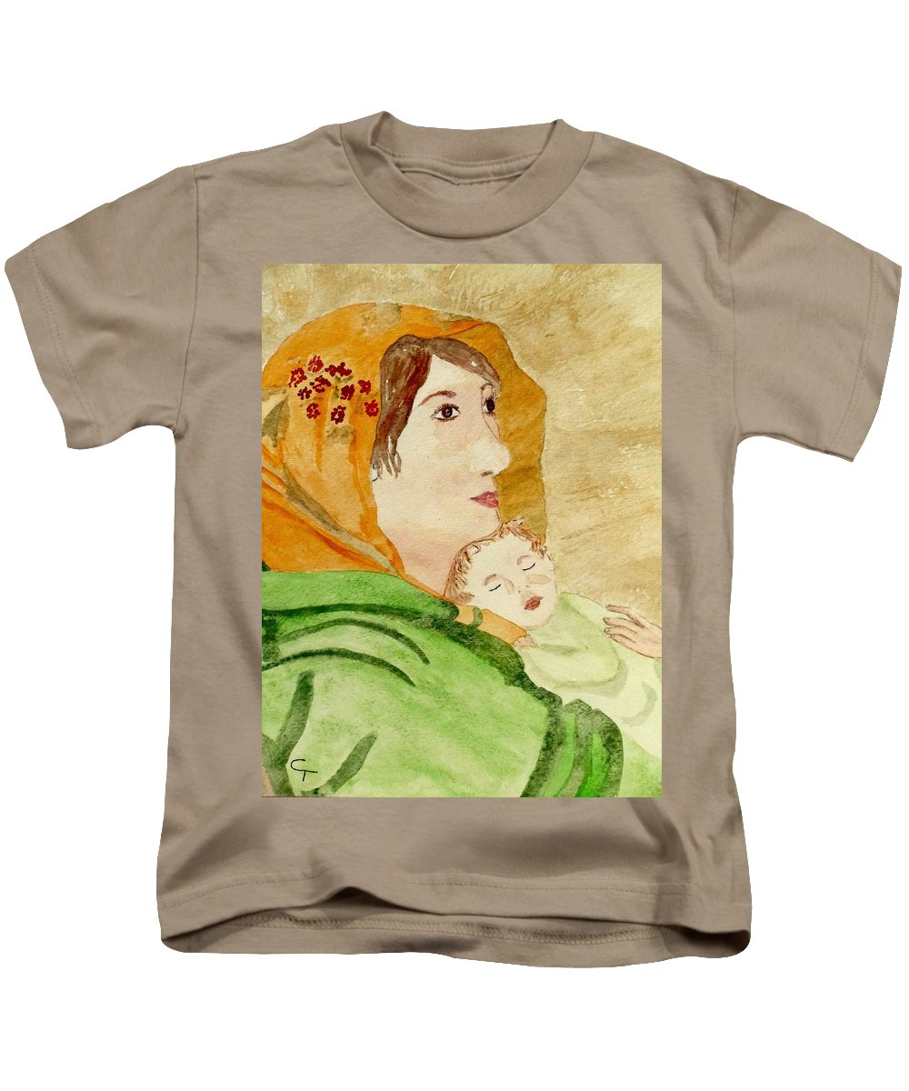 Claudia Thomas Kids T-Shirt featuring the painting Mary Did You Know by Claudia Thomas