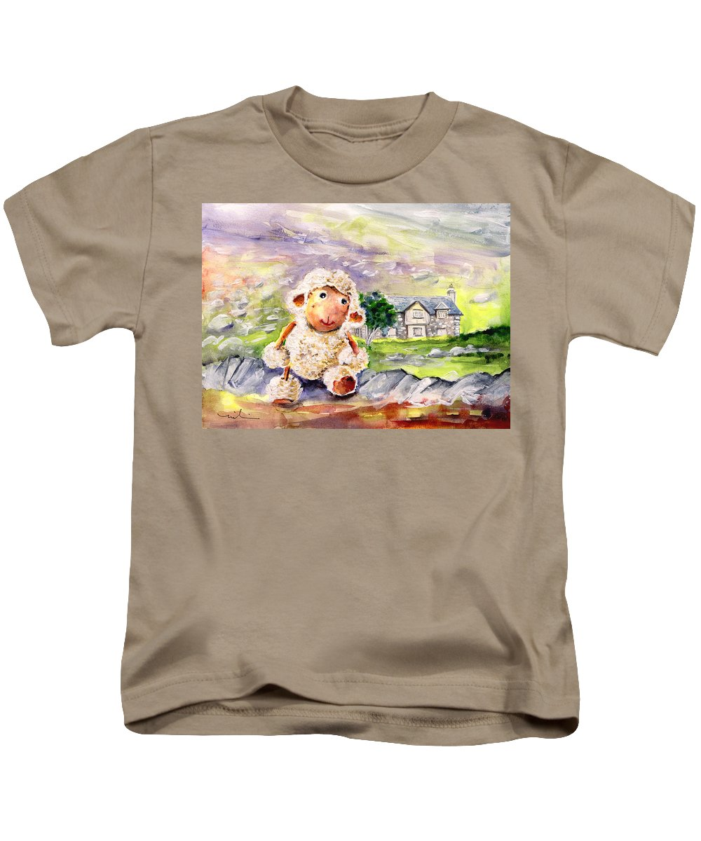 Animals Kids T-Shirt featuring the painting Mary The Scottish Sheep by Miki De Goodaboom