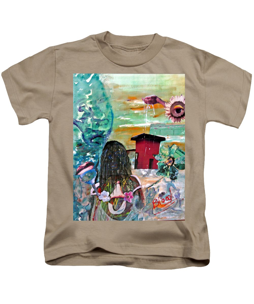 Water Kids T-Shirt featuring the painting Masks Of Life by Peggy Blood