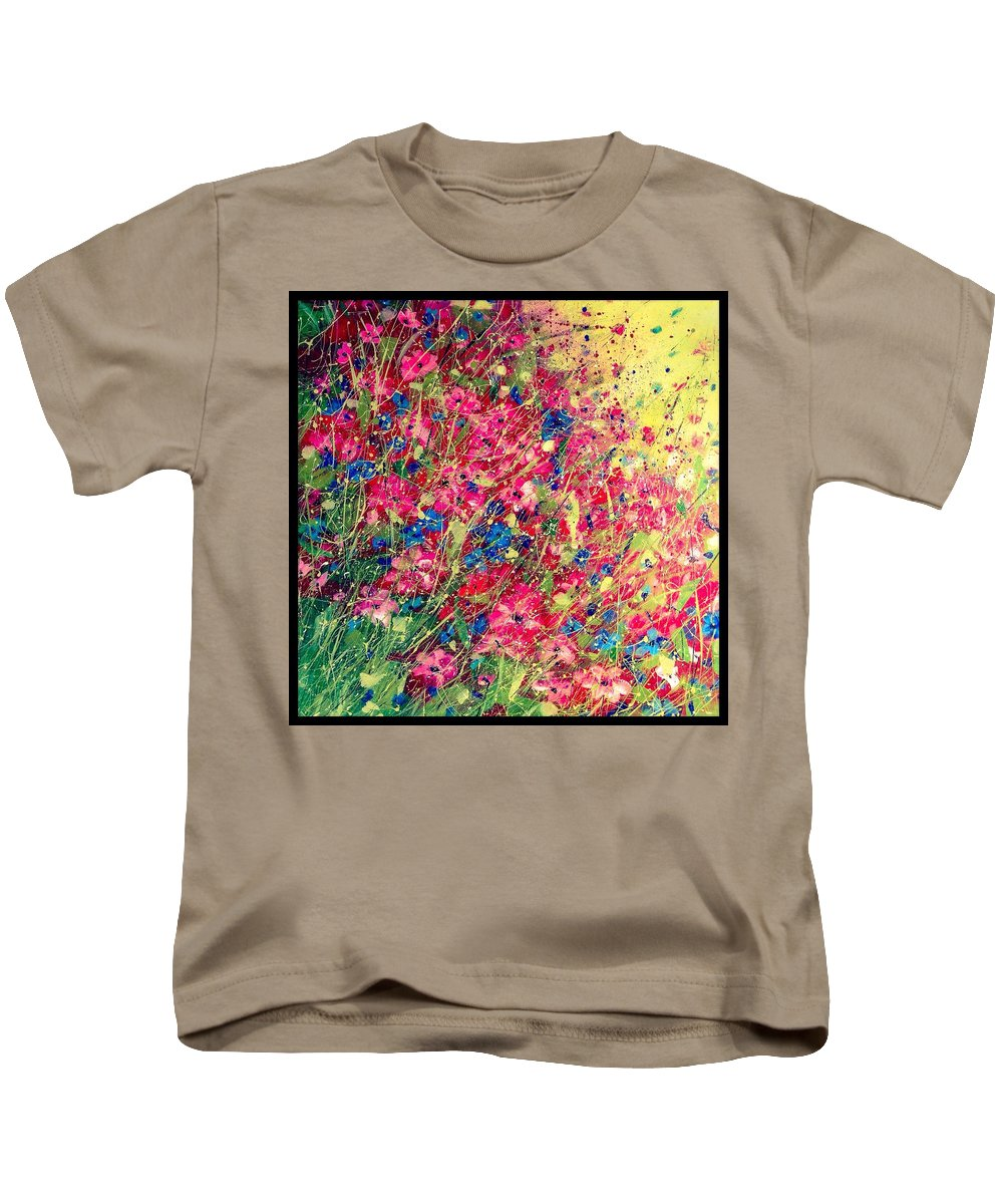 Flowers Kids T-Shirt featuring the painting Meadows by Susan Fuss