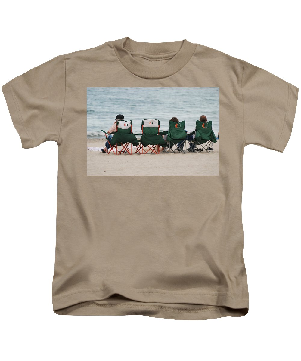 University Of Miami Kids T-Shirt featuring the photograph Miami Hurricane Fans by Rob Hans