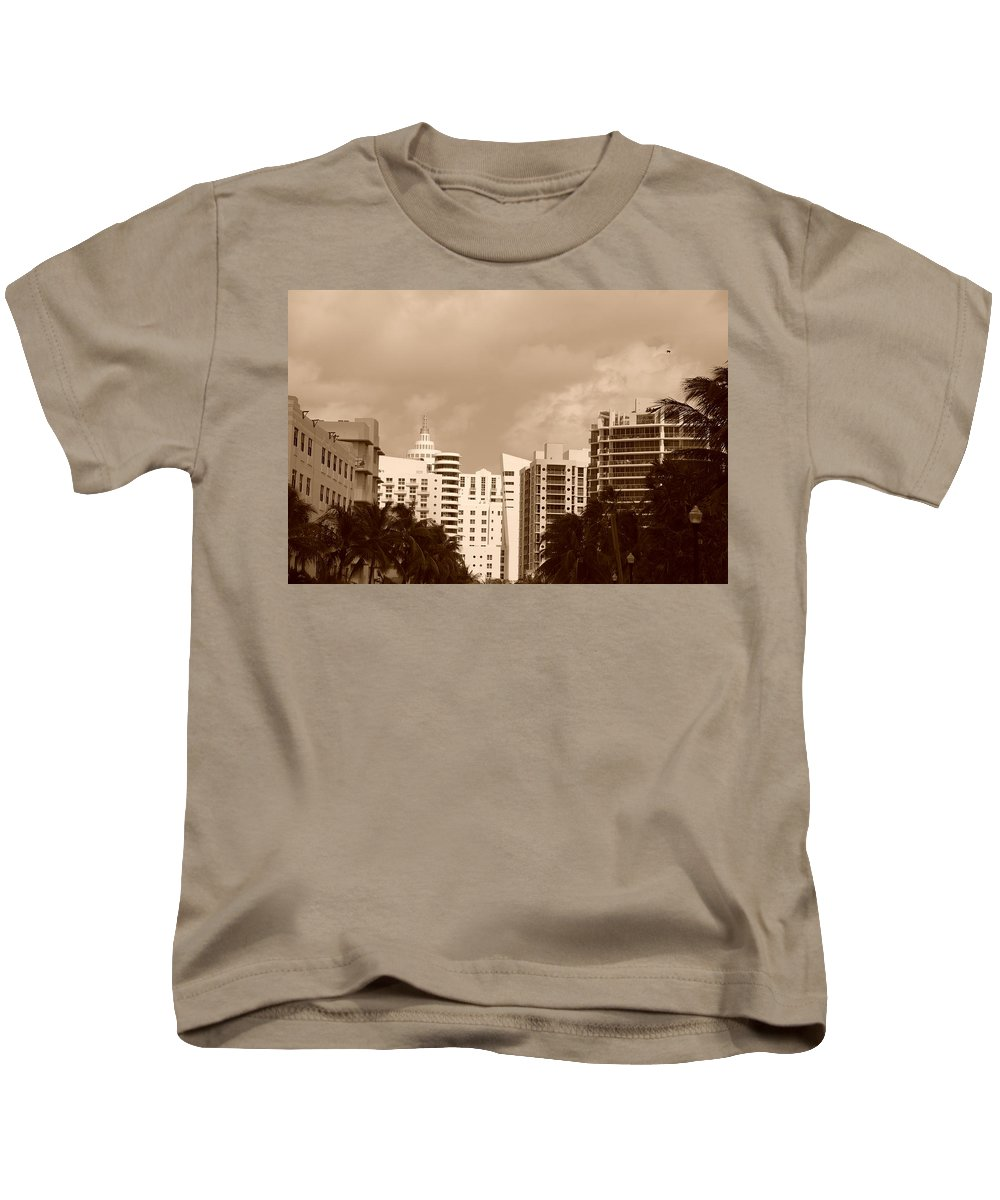 Sepia Kids T-Shirt featuring the photograph Miami Sepia Sky by Rob Hans