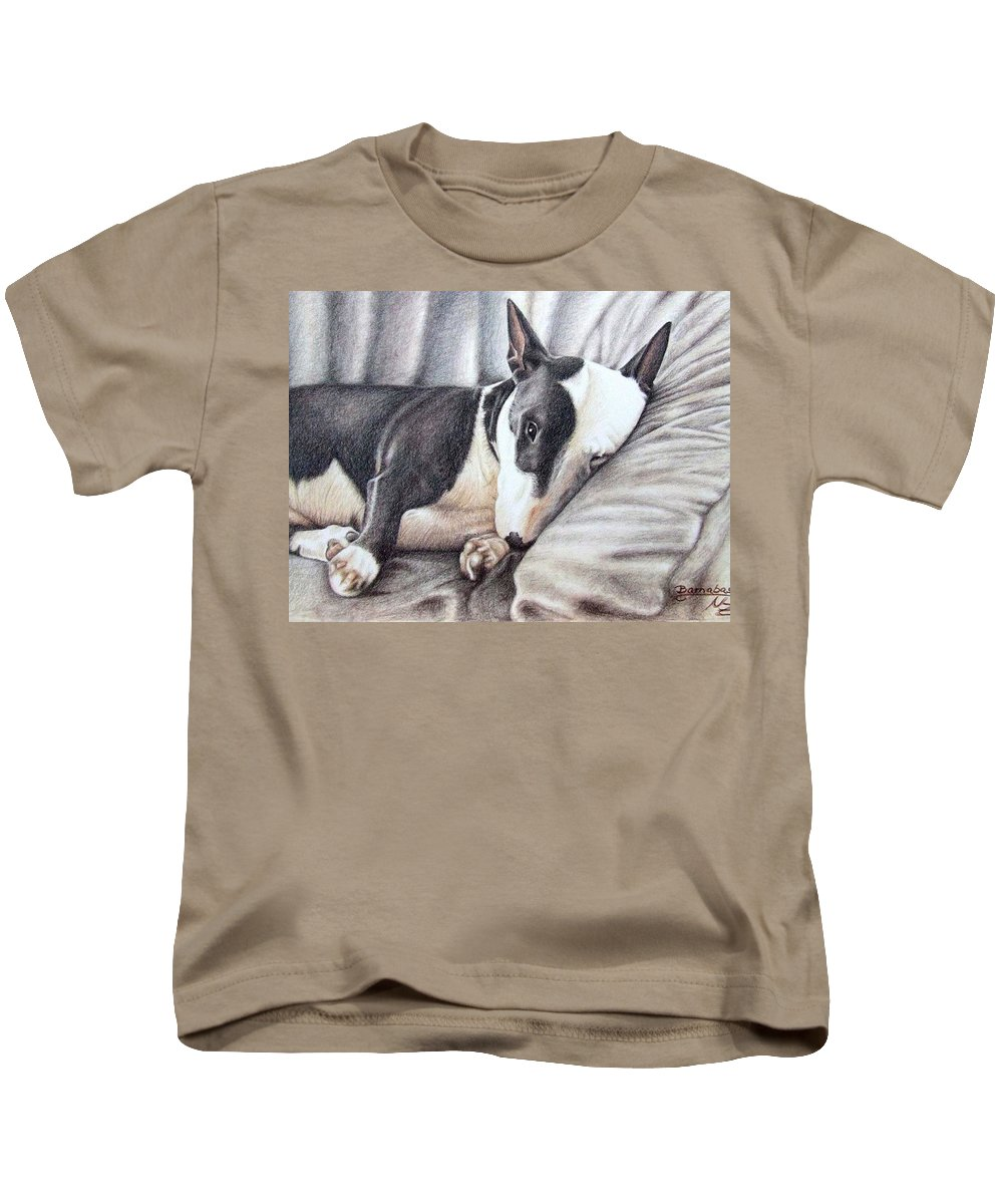 Dog Kids T-Shirt featuring the drawing Mini Bulldog Terrier by Nicole Zeug