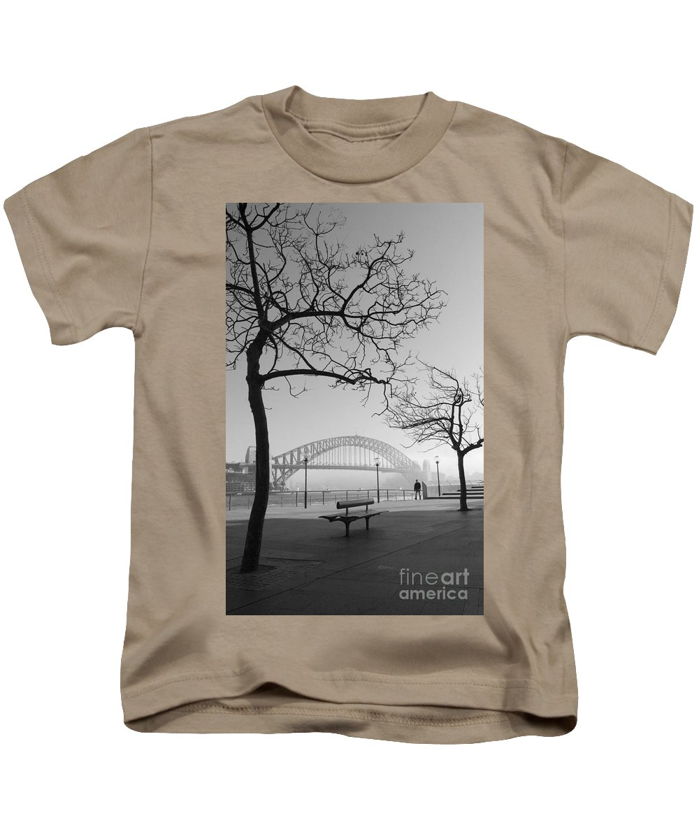 Sydney Harbour Bridge Mist Australia Kids T-Shirt featuring the photograph Misty Sydney Morning by Sheila Smart Fine Art Photography
