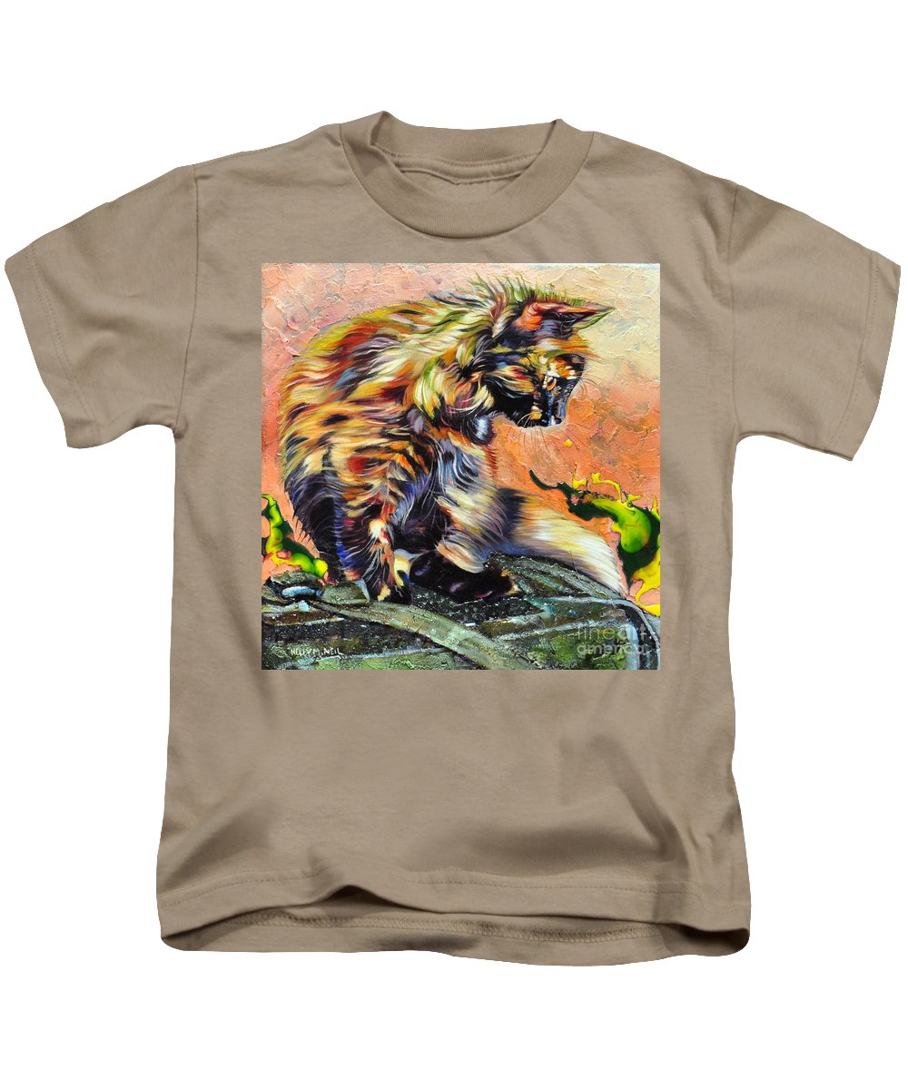 Cat Kids T-Shirt featuring the painting Mocha by Kelly McNeil