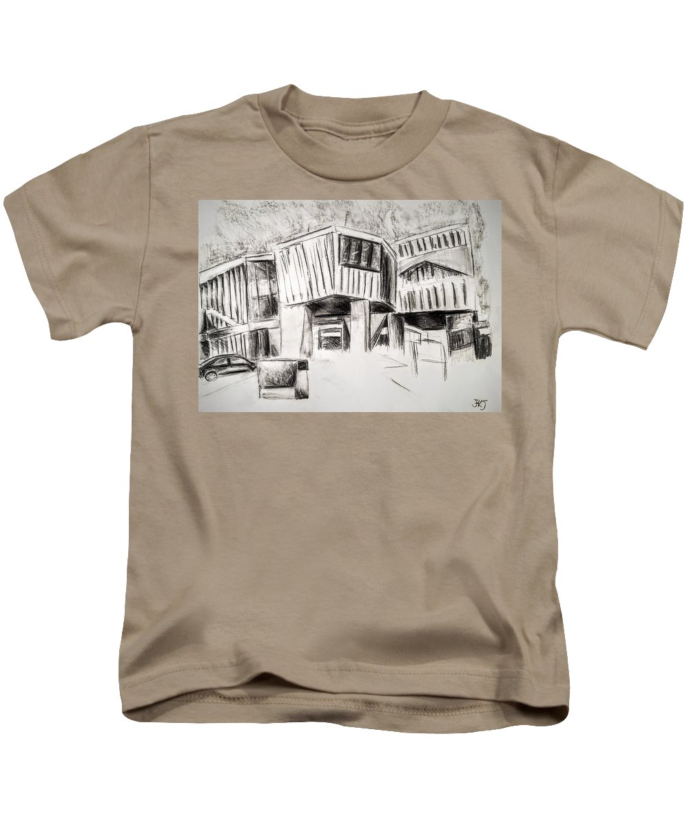 Homes Kids T-Shirt featuring the painting Modern Homes by Paints Institute