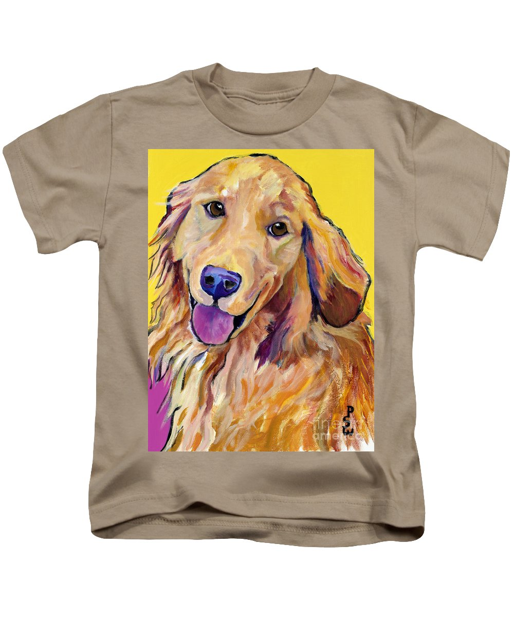 Acrylic Paintings Kids T-Shirt featuring the painting Molly by Pat Saunders-White
