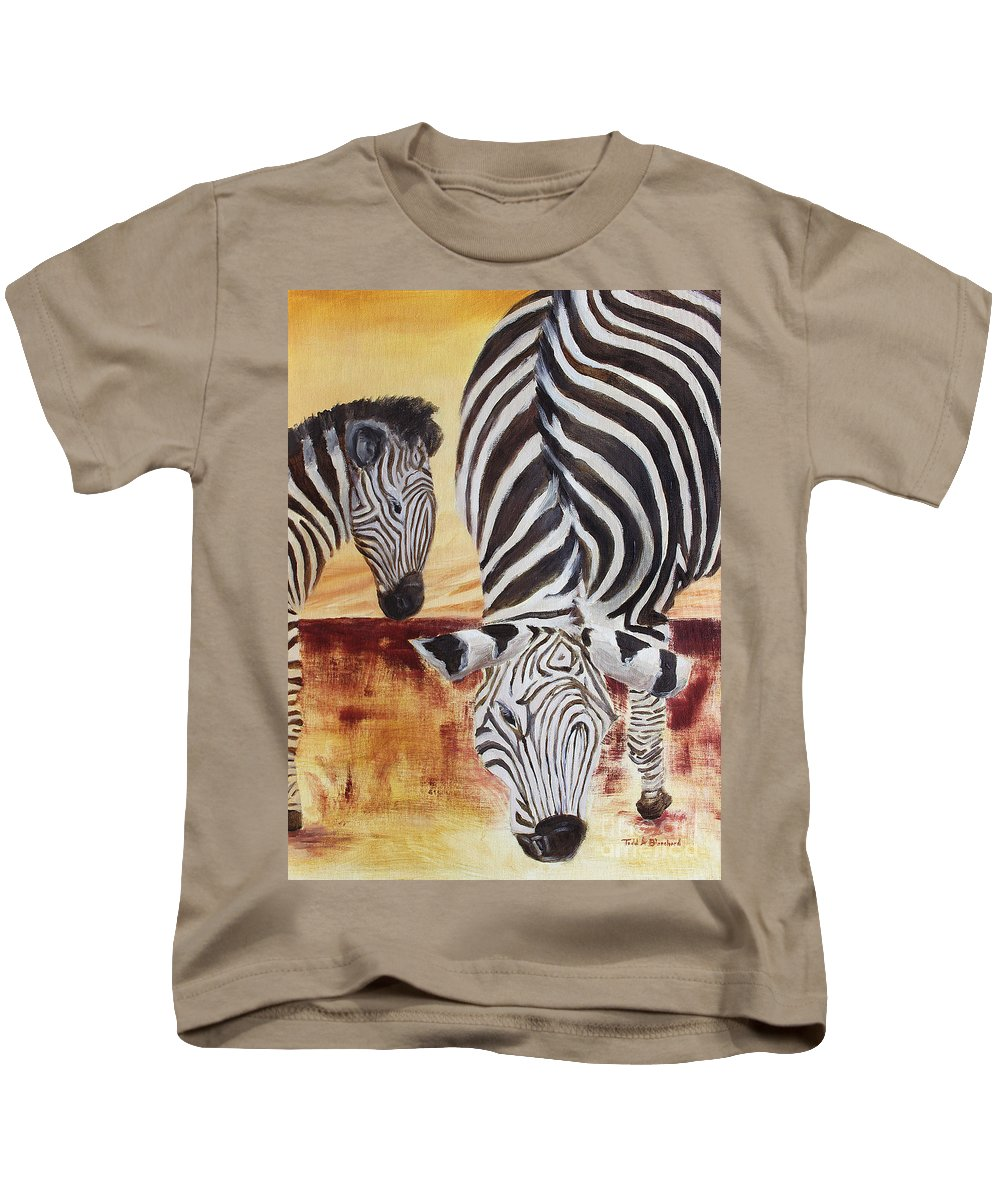 Animal Kids T-Shirt featuring the painting Momma And Baby by Todd Blanchard