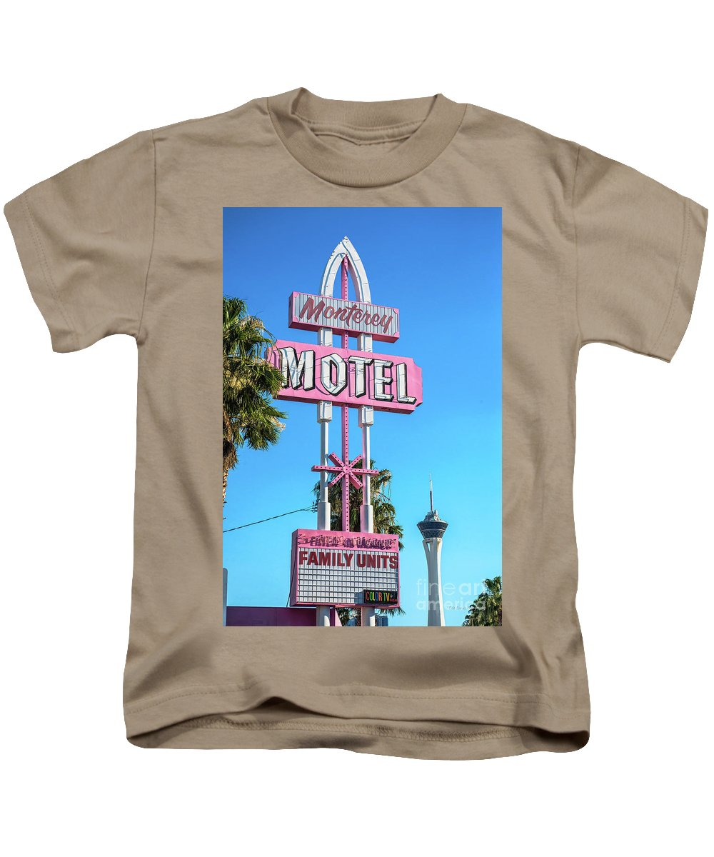 Monterey Motel Kids T-Shirt featuring the photograph Monterey Motel Sign And The Stratosphere by Aloha Art