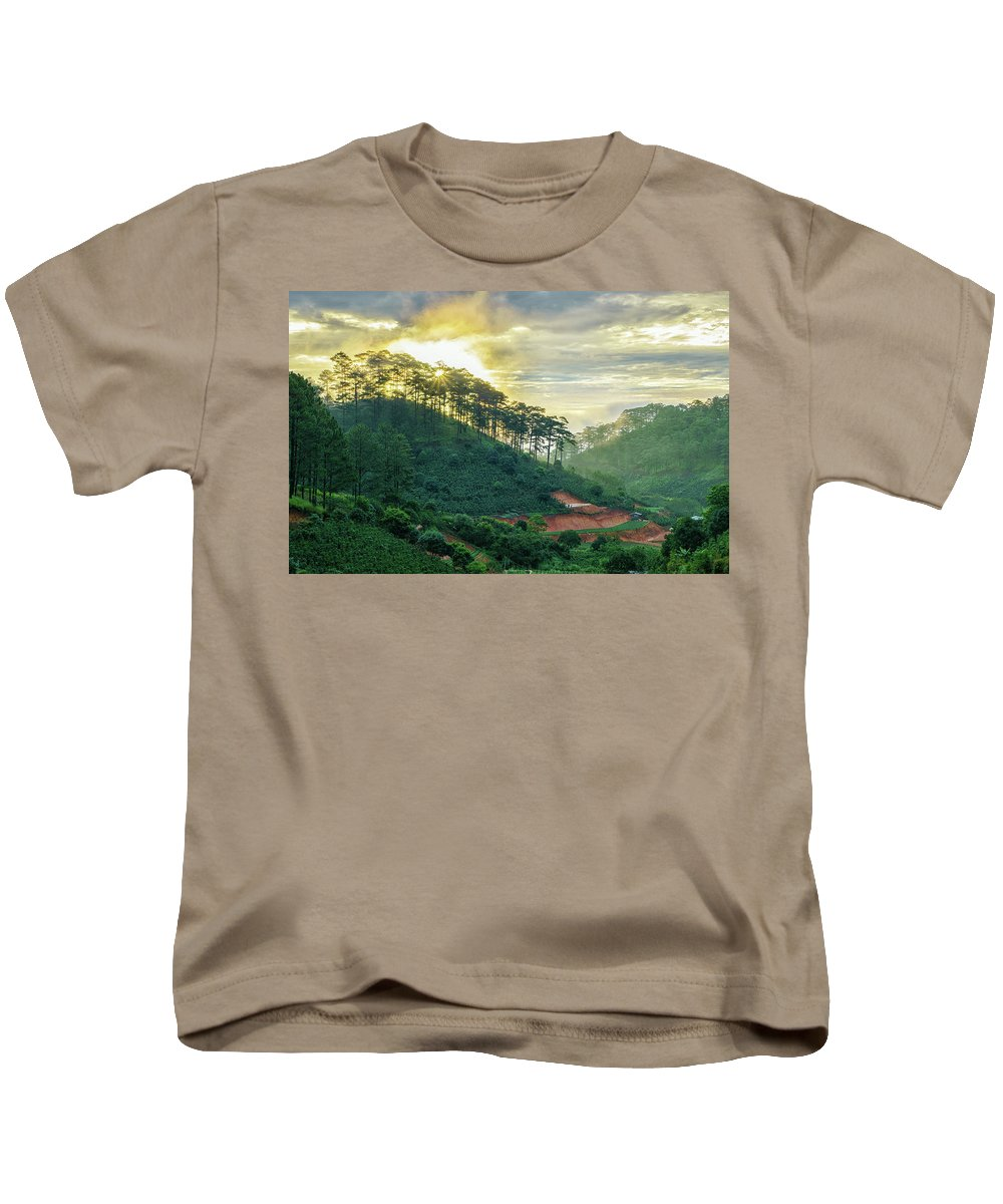 Pine Forest Kids T-Shirt featuring the photograph Moring In Dalat by Nguyen Quang Thin