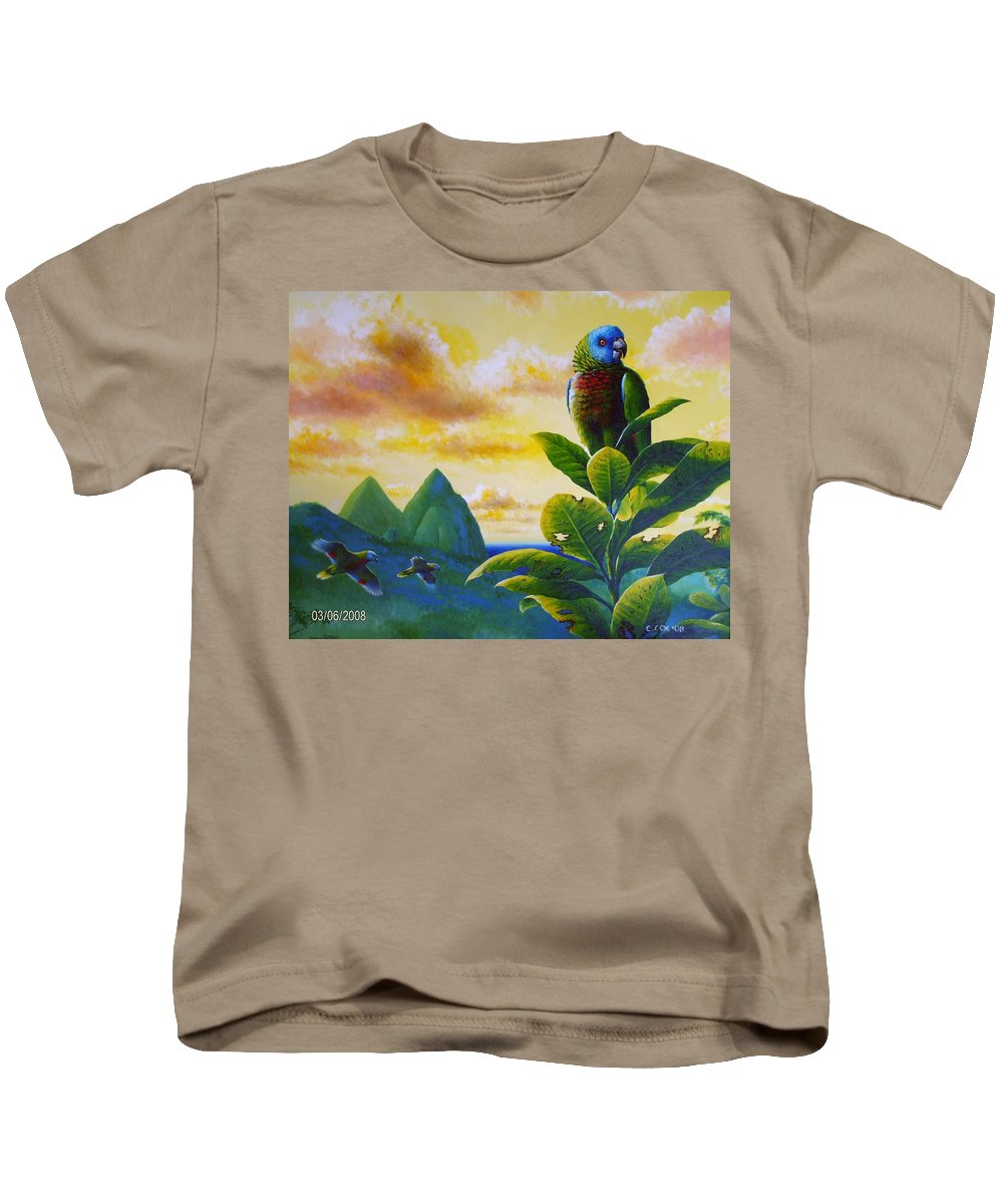 Chris Cox Kids T-Shirt featuring the painting Morning Glory - St. Lucia Parrots by Christopher Cox