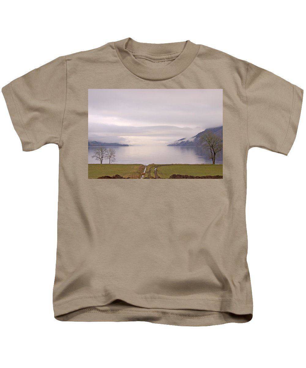 Lake Kids T-Shirt featuring the photograph Morning On Loch Ness In Scotland by Ian Middleton
