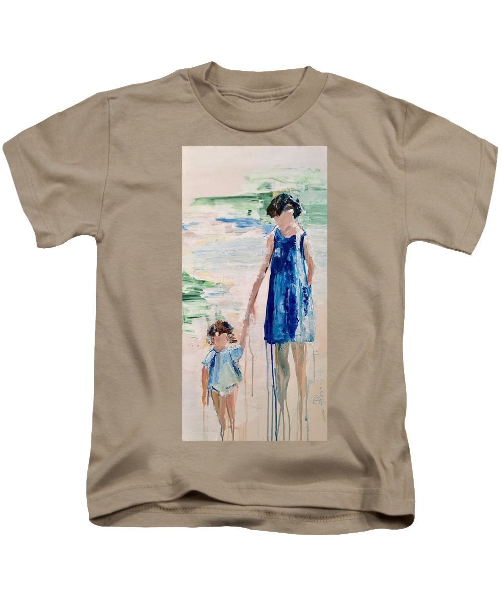 Family Kids T-Shirt featuring the painting Mother And Child by Denise Morencie