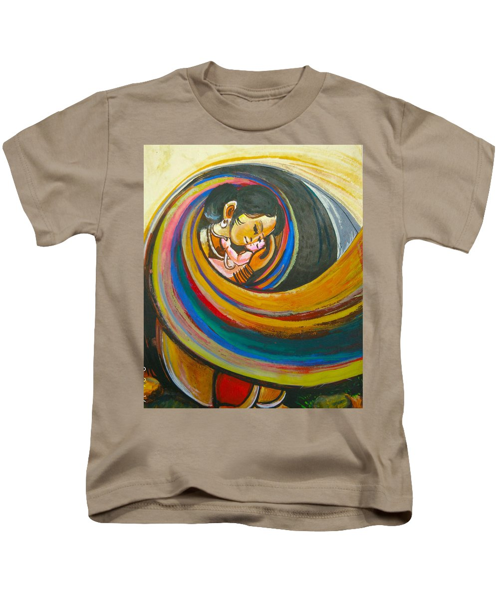 Brunets Kids T-Shirt featuring the painting Mother Love,mothers Lap by Rehan Khan
