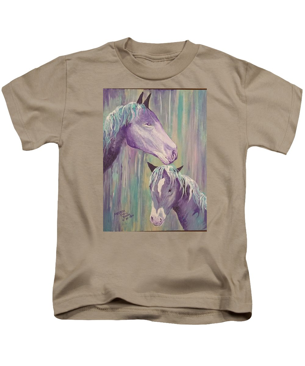 Motherly Love. Kids T-Shirt featuring the painting Motherly Love by Melissa Young