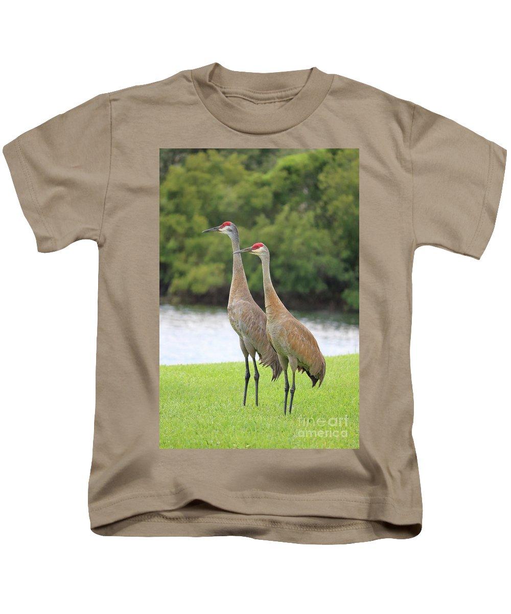 Sandhill Crane Kids T-Shirt featuring the photograph Mr And Mrs Crane by Carol Groenen