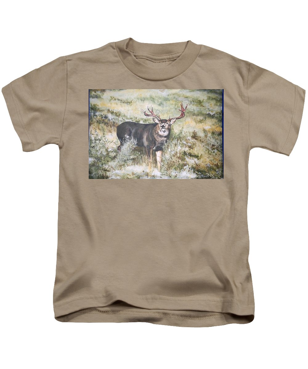Mule Deer Kids T-Shirt featuring the painting Muley by Debra Sandstrom