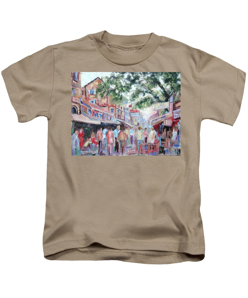Bombay Markets Kids T-Shirt featuring the painting Mumbai Market by Ginger Concepcion