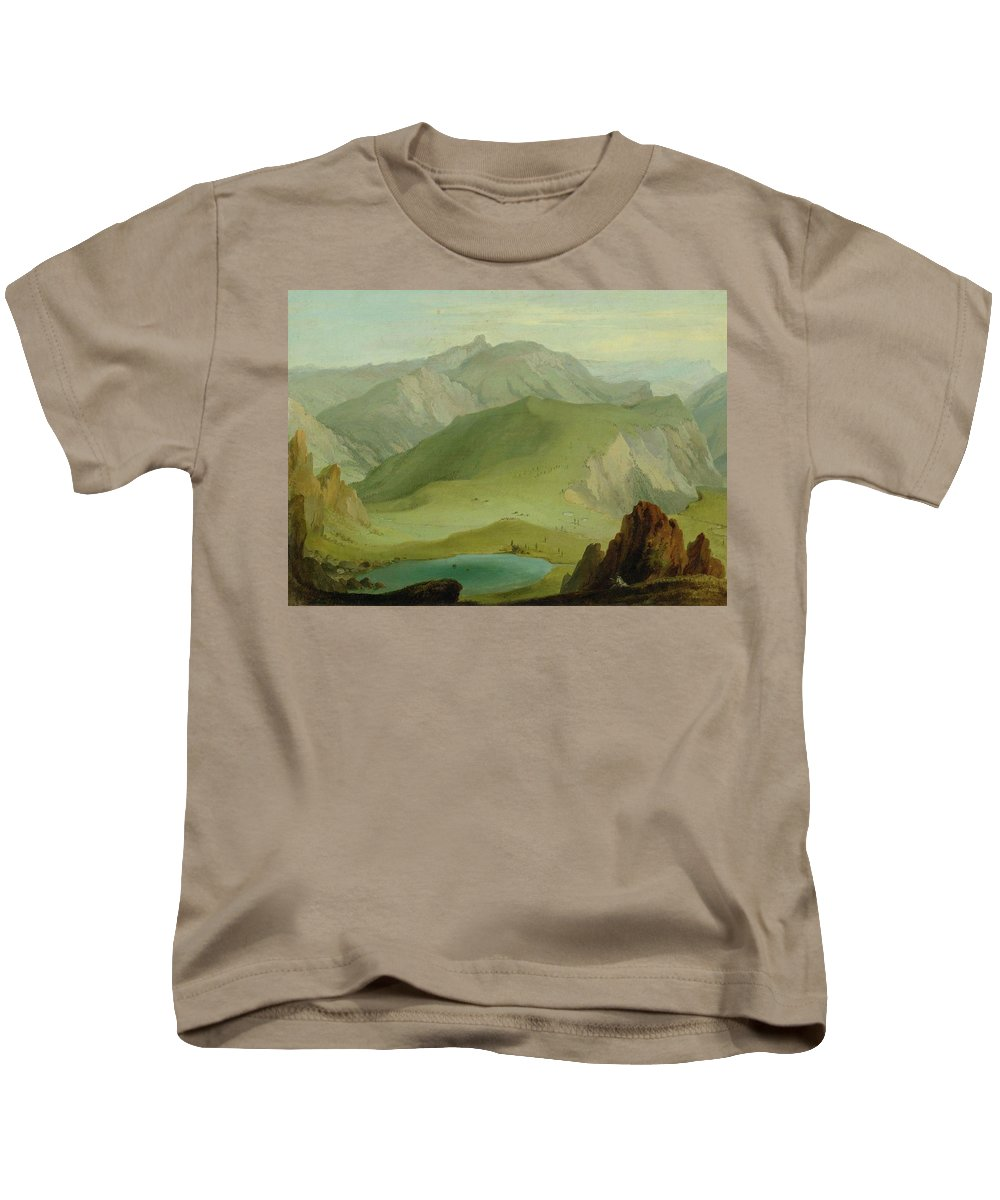Wolf Kids T-Shirt featuring the painting Muntiggalm Ber Den Seebergsee Auf Die by Wolf
