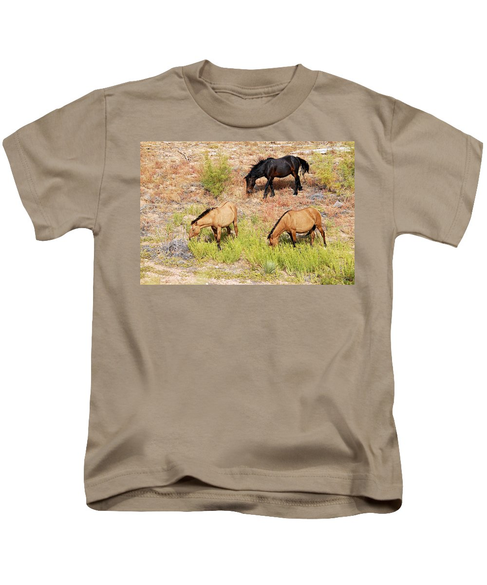 Pryor Mountain Wild Horse Range Kids T-Shirt featuring the photograph Mustangs by Larry Ricker