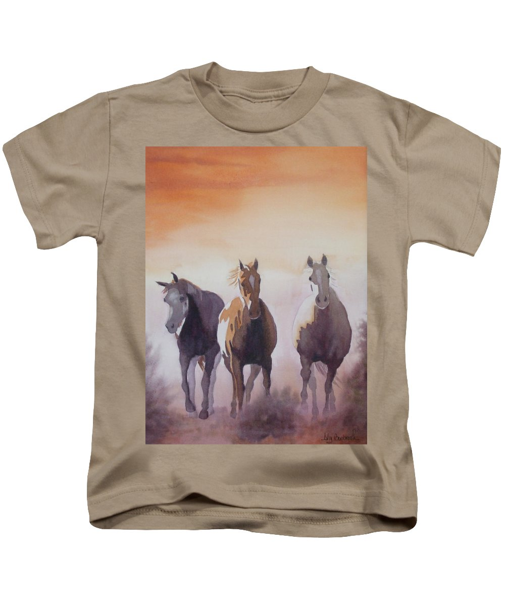Horse Kids T-Shirt featuring the painting Mustangs Out Of The Fire by Ally Benbrook
