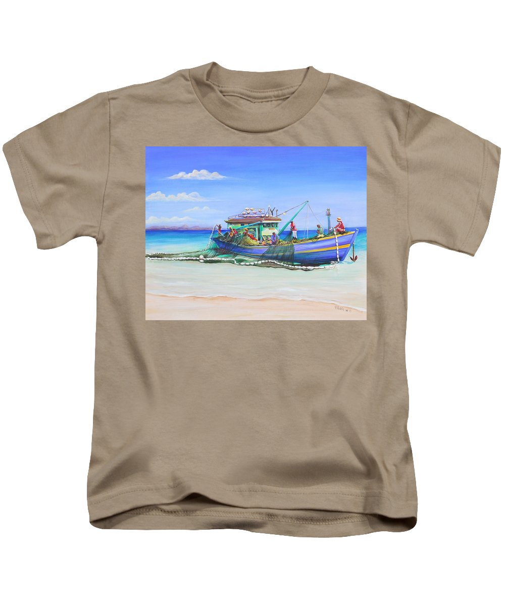 Boat Kids T-Shirt featuring the painting Mv Alice Mary by Patricia Piffath