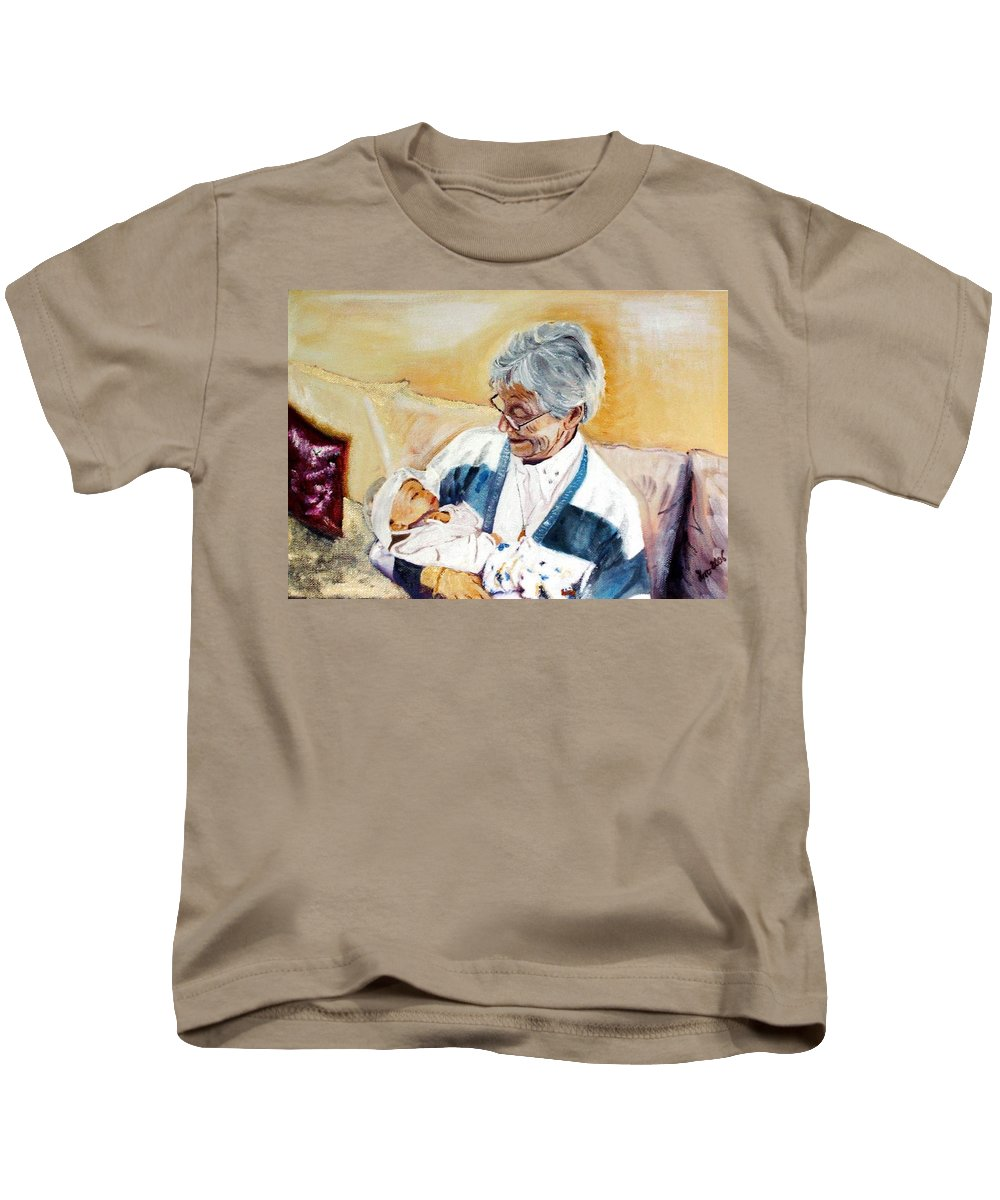 Portrait Kids T-Shirt featuring the painting my granddaughter Leonie with her great grandmum by Helmut Rottler