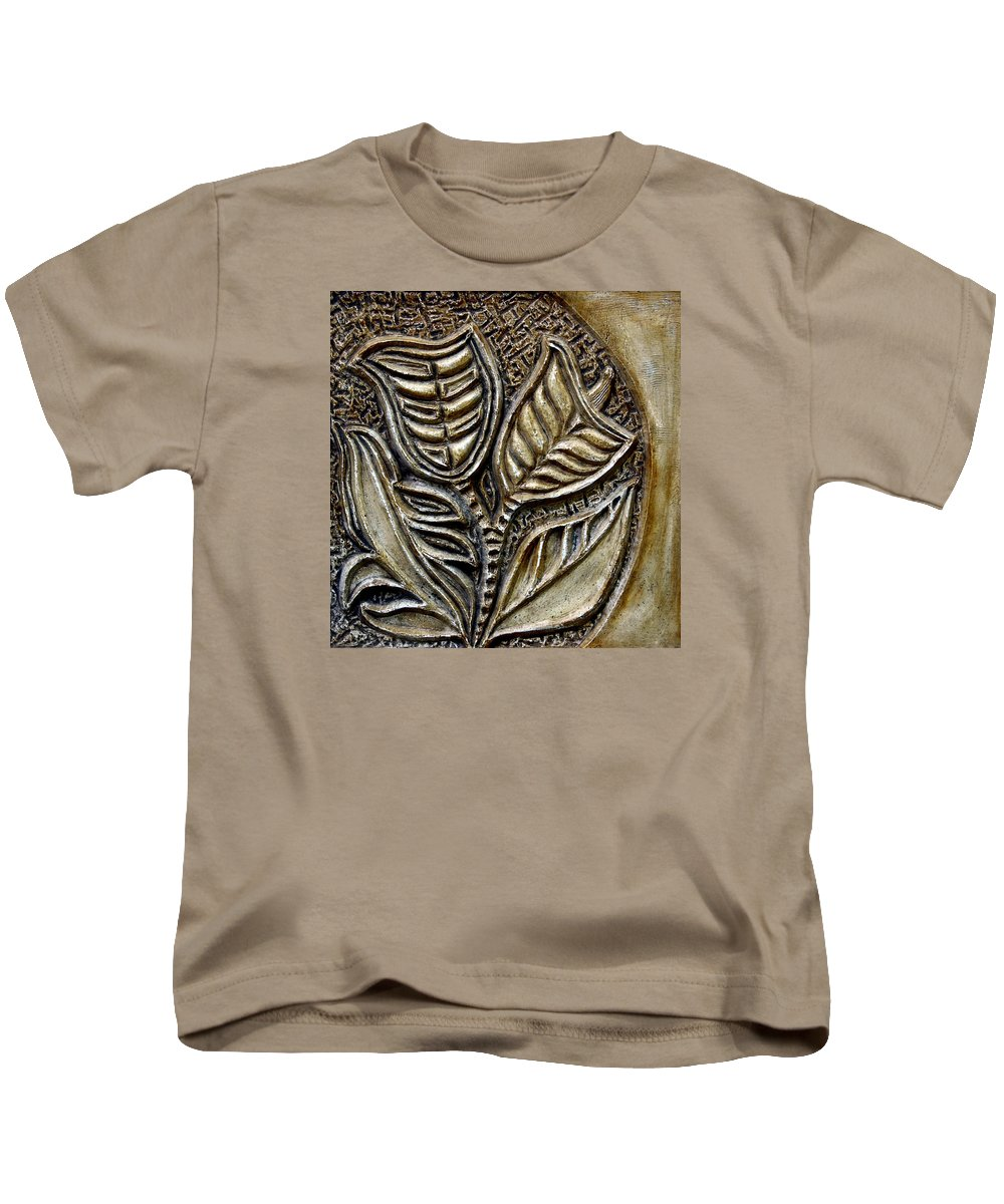Vintaje Kids T-Shirt featuring the relief Vintaje Tile With Calas by Madalena Lobao-Tello
