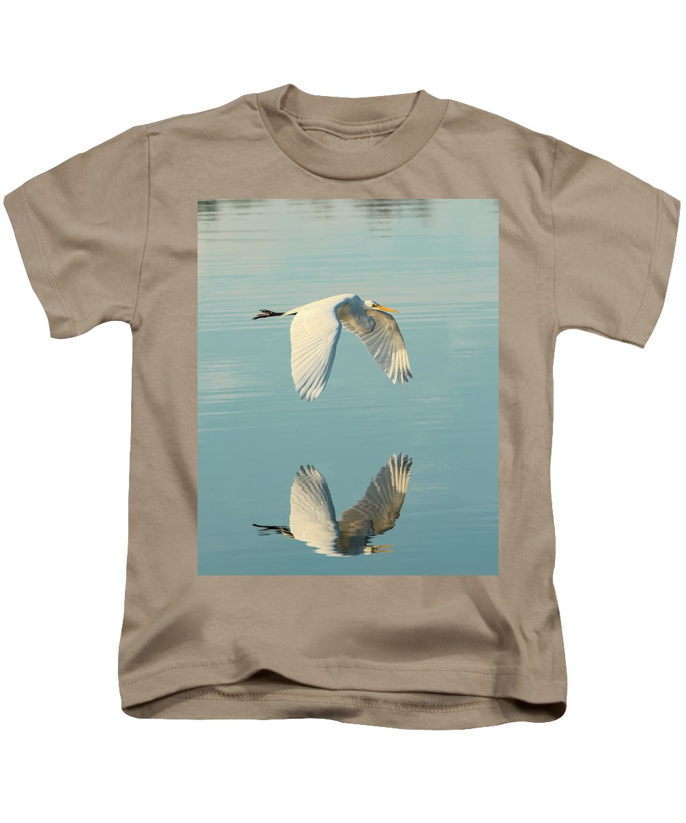 Bird Kids T-Shirt featuring the photograph Nature's Mirror by Artful Imagery