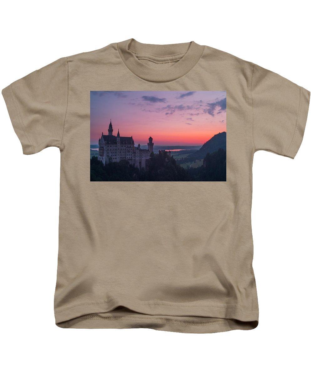 Neuschwanstein Kids T-Shirt featuring the photograph Neuschwanstein Castle Landscape by Valerio Poccobelli