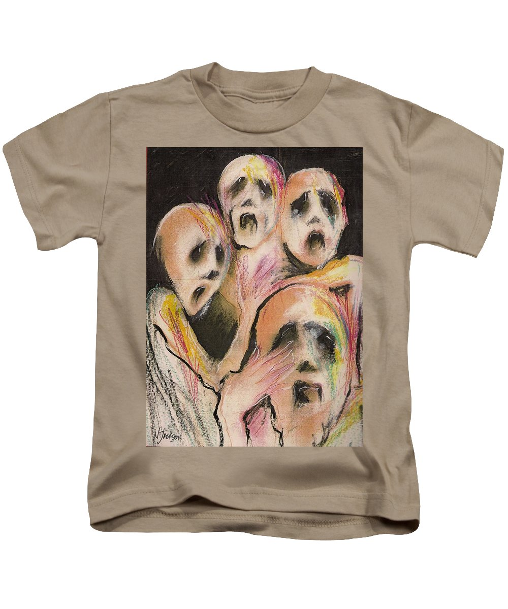 War Cry Tears Horror Fear Darkness Kids T-Shirt featuring the mixed media No Words by Veronica Jackson