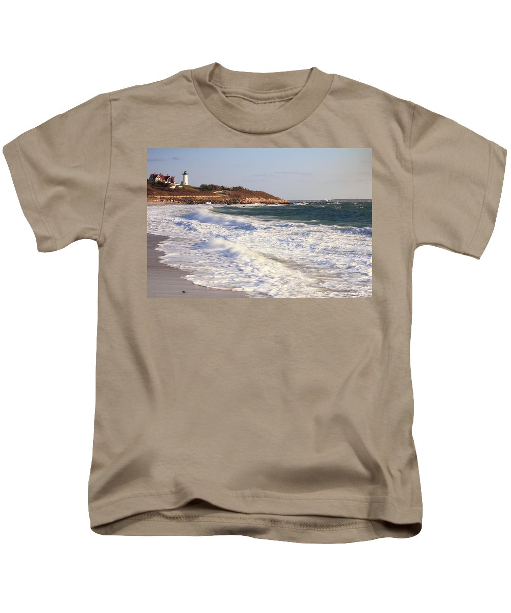 Lighthouse Kids T-Shirt featuring the photograph Nobska Point Seascape by Roupen Baker