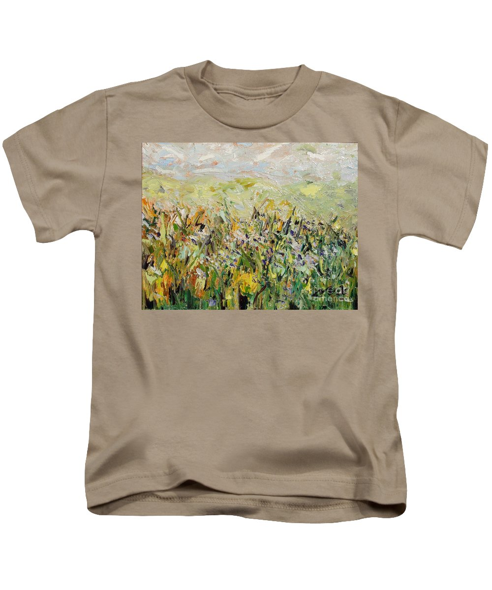 Field Paintings Kids T-Shirt featuring the painting Nose Hill by Seon-Jeong Kim