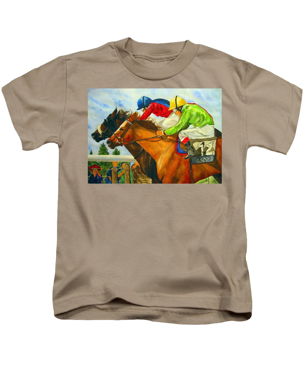 Horse Kids T-Shirt featuring the painting Nose To Nose by Jean Blackmer