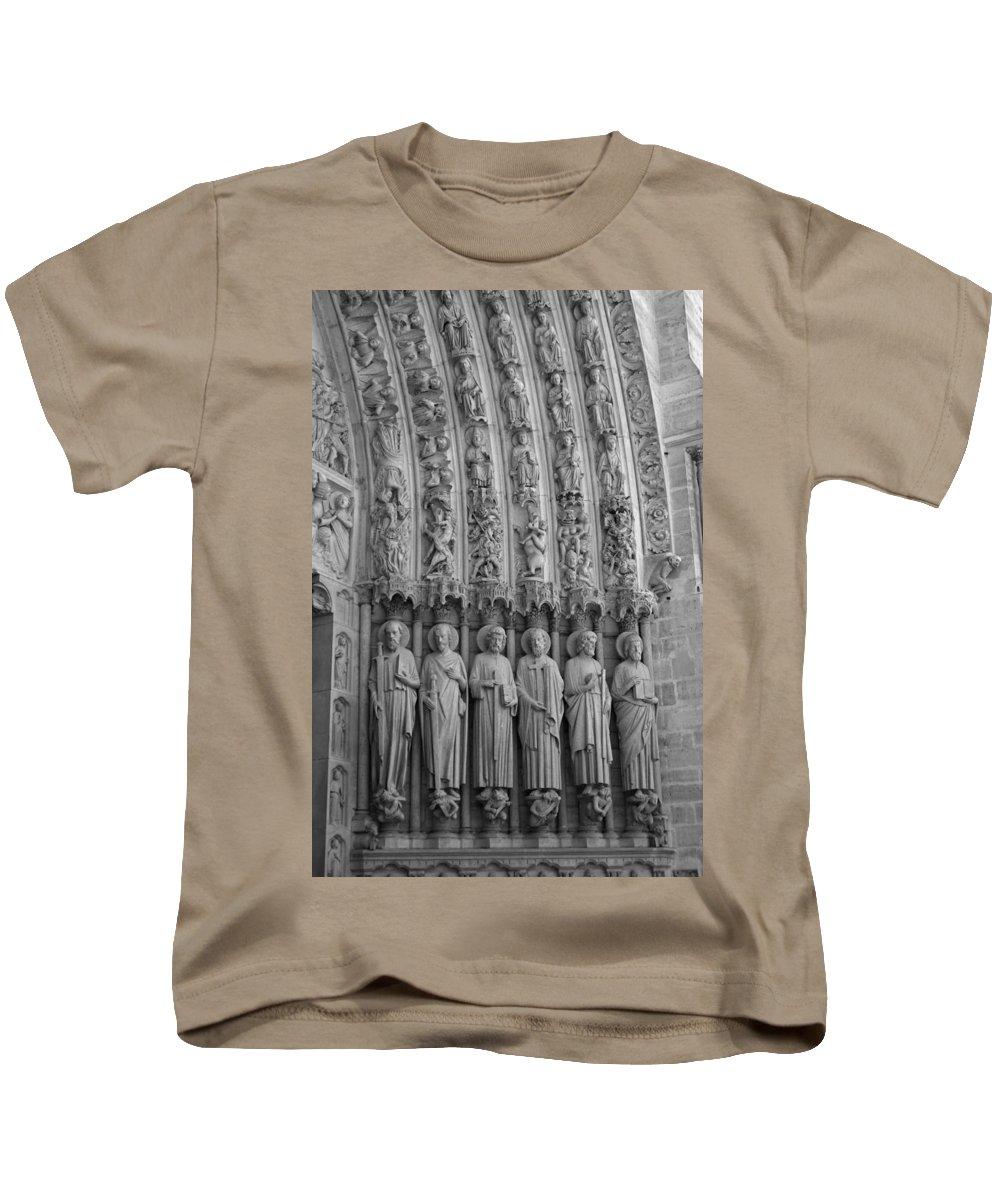 Paris Kids T-Shirt featuring the photograph Notre Dame Doorway Detail Paris France by Toby McGuire