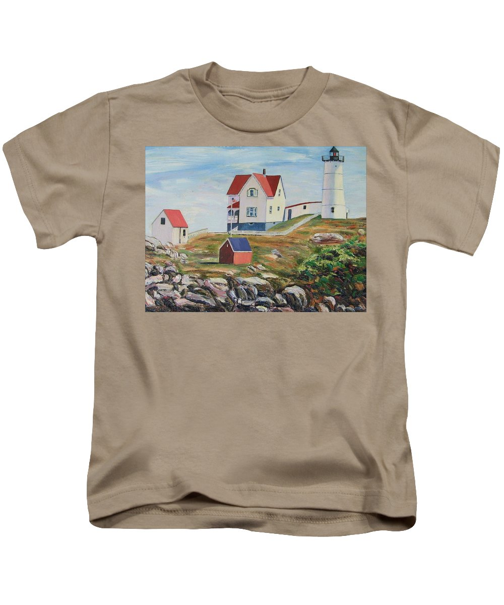 Nubble Light House Kids T-Shirt featuring the painting Nubble Light House Maine by Richard Nowak