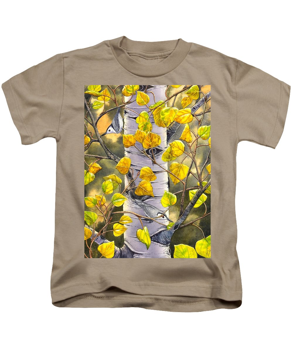 Nuthatch Kids T-Shirt featuring the painting Nuthatches by Catherine G McElroy