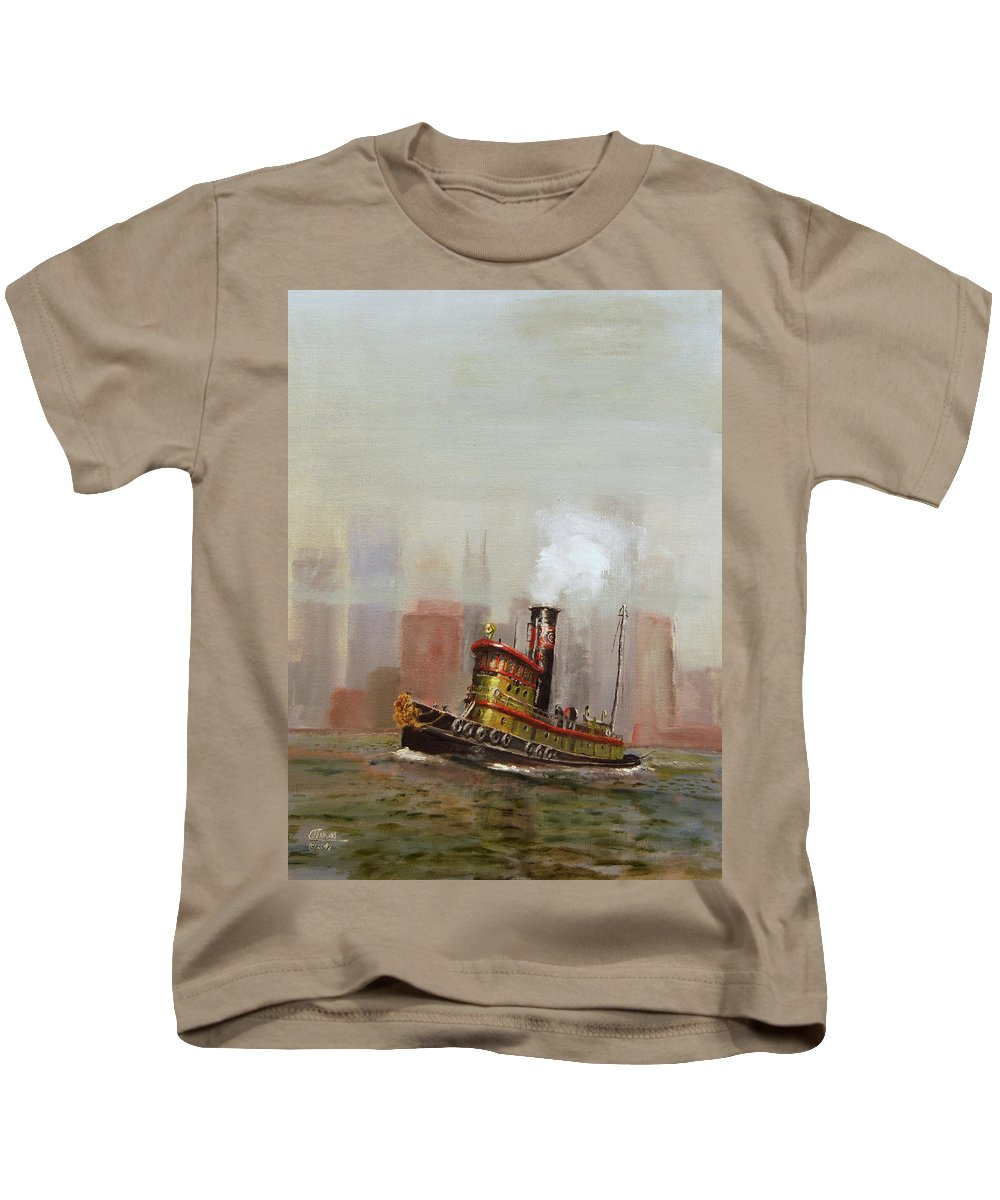 Tug Kids T-Shirt featuring the painting Nyc Tug by Christopher Jenkins
