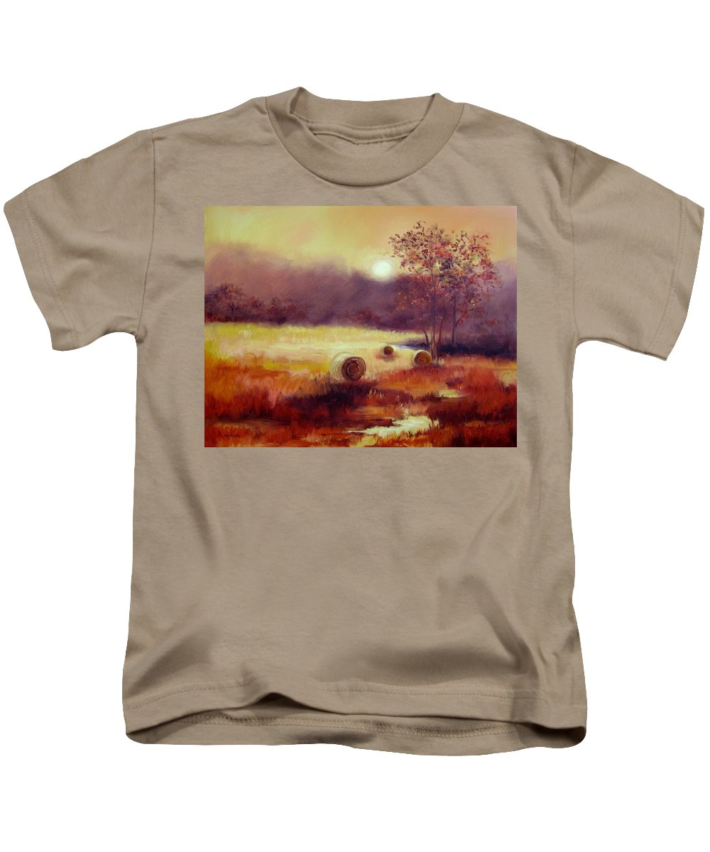 Fall Landscapes Kids T-Shirt featuring the painting October Pasture by Ginger Concepcion